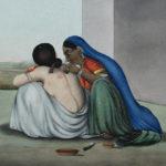 Altes Bild von zwei Frauen, die eine schröpft die andere.
