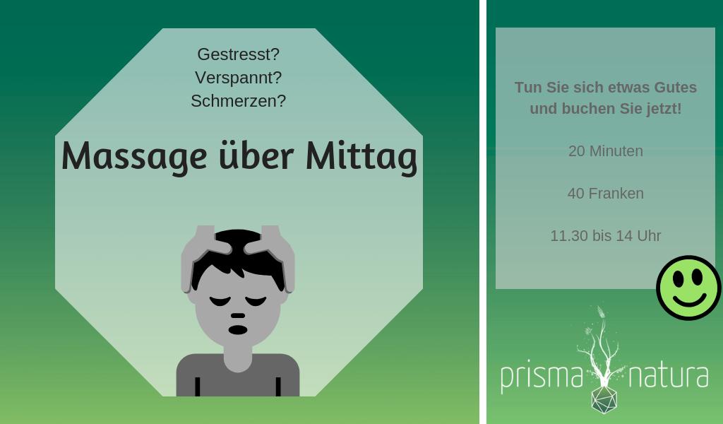 Neues Angebot: Massage über Mittag Naturheilpraxis Prisma Natura, Baar (Zug)