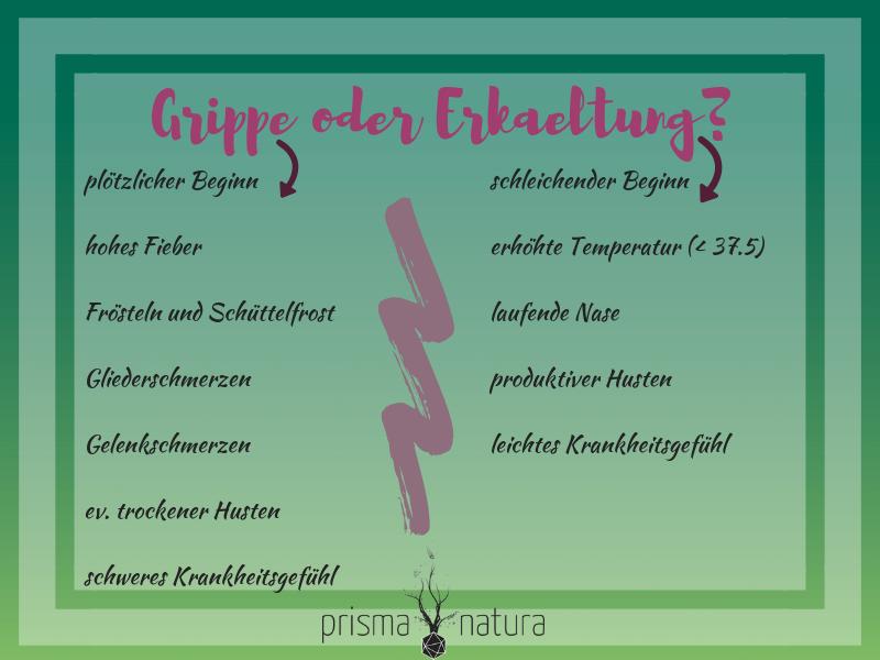 Tabelle der Naturheilpraxis Prisma Natura von Nina Vöhringer in Baar zu Grippe oder Erkaeltung?