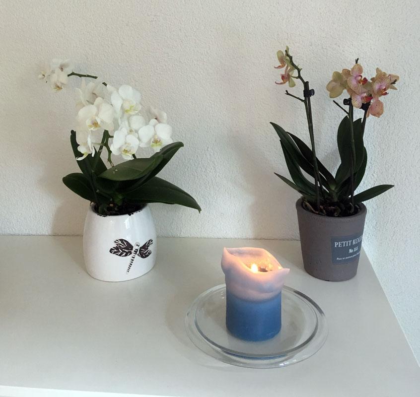 Zwei Orchideen und eine Kerze